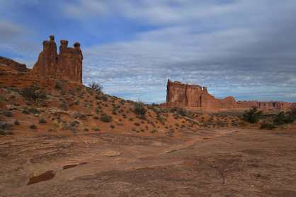 View of the Three Gossips (rock formation) at Park Avenue, Arches National Park
