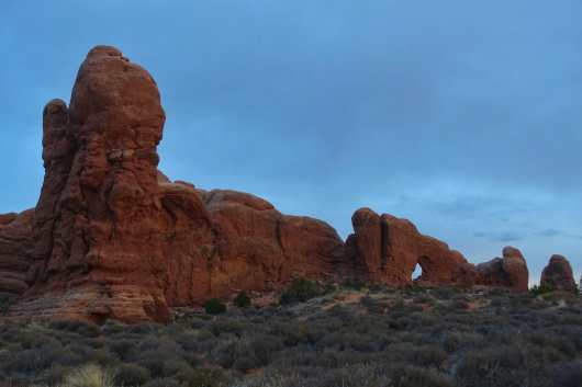 Dusk at the Windows section, Arches National Park