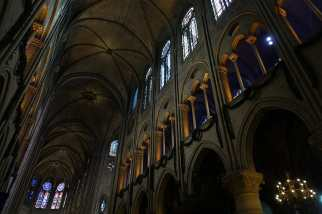 the high ceilings and stained glass of Notre Dame