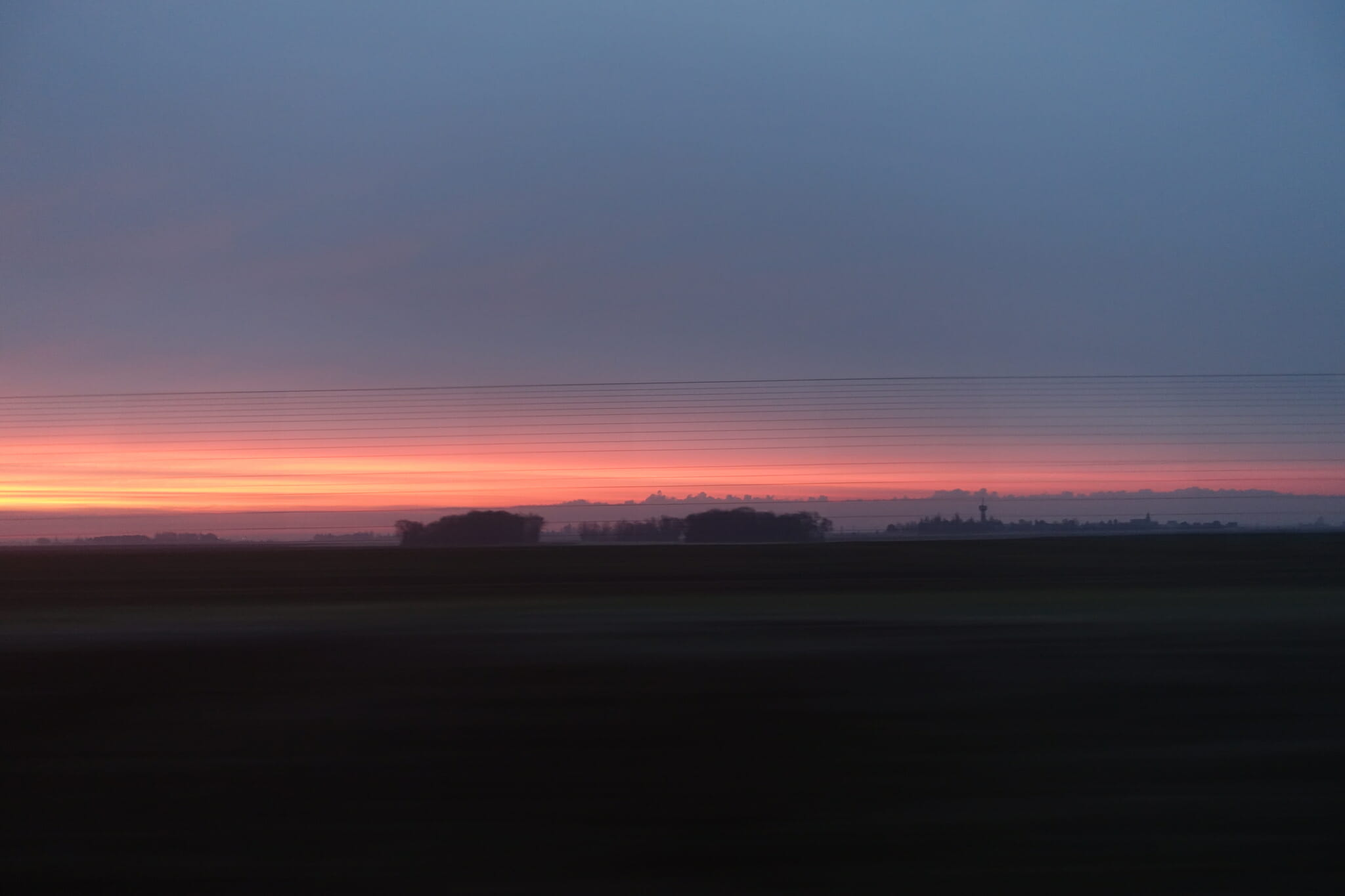 sunrise from the TGV to Rennes
