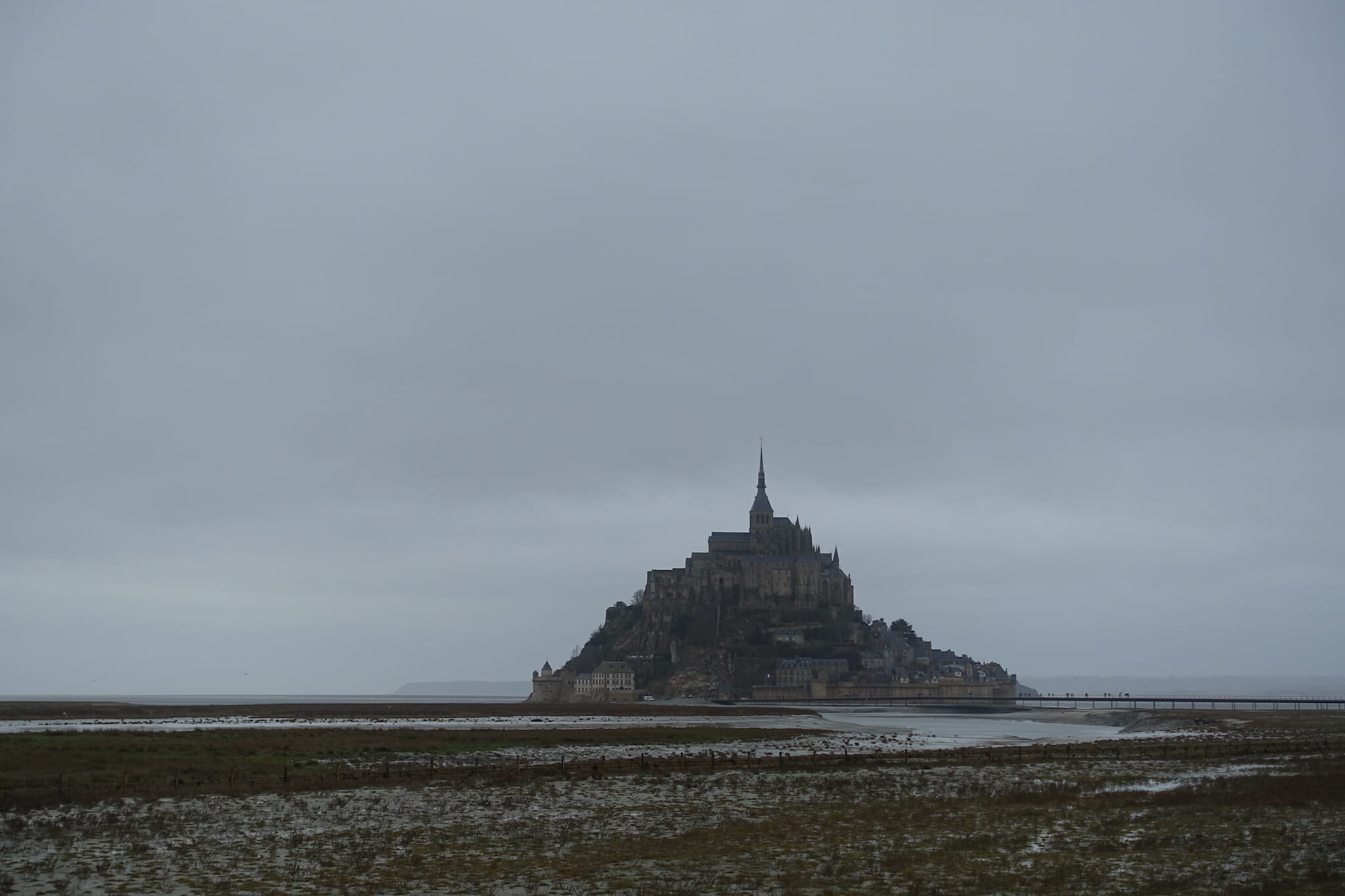 Mont Saint-Michel on a cloudy day