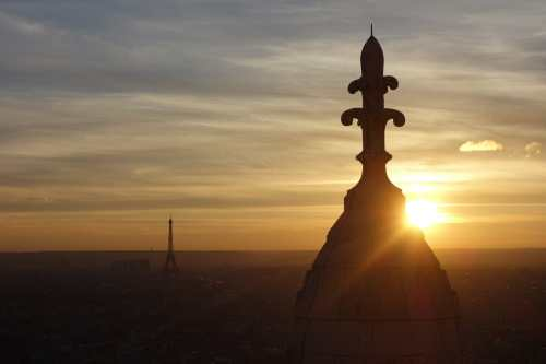 Eiffel Tower and Sacre-Coeur at sunset