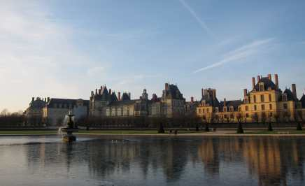 The grounds and a pond outside the Chateau Fontainebleau