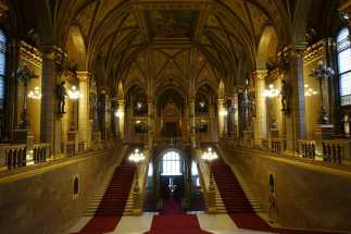The 96 steps of the Grand Staircase in the Parliament Building, Budapest