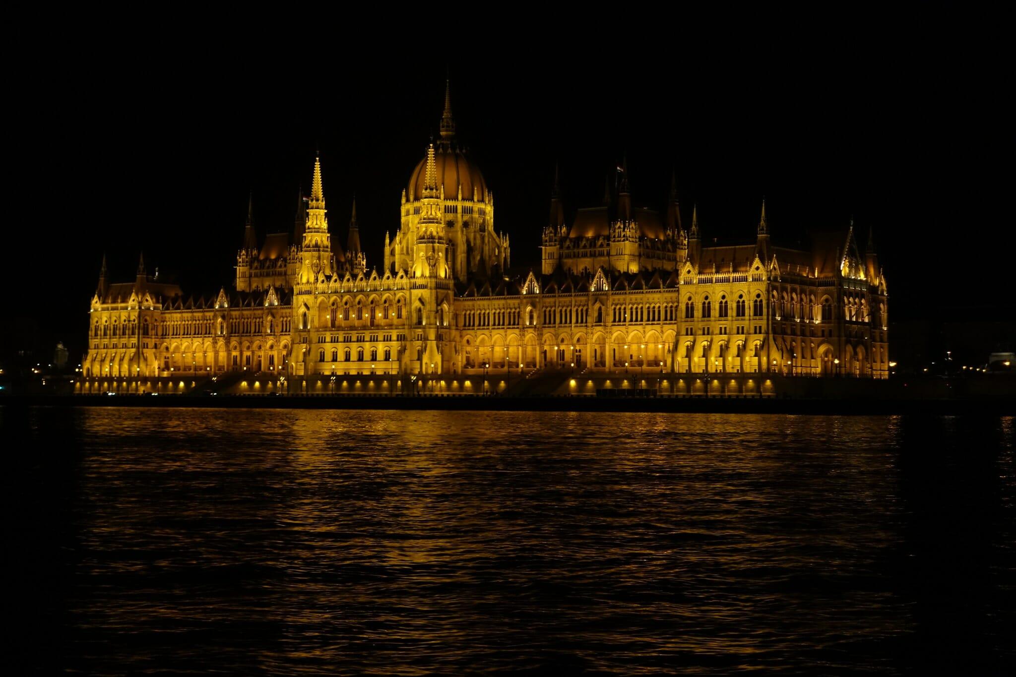 The Parliament Buidling illuminated at night