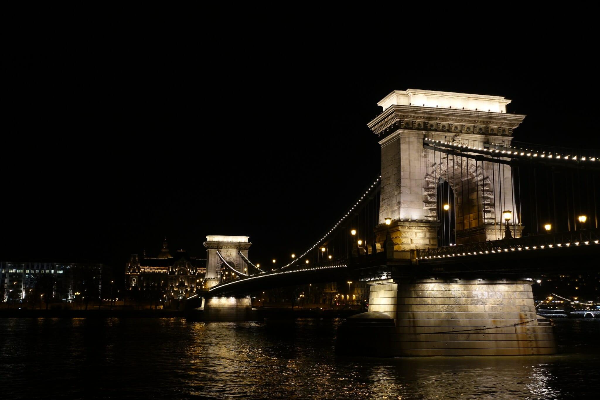 The Chain Bridge illuminated at night