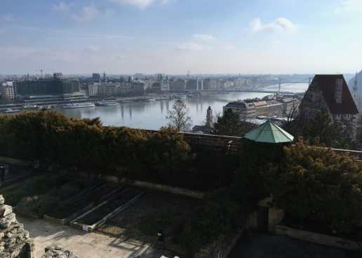 A view from the Buda Castle, looking toward the Elisabeth Bridge