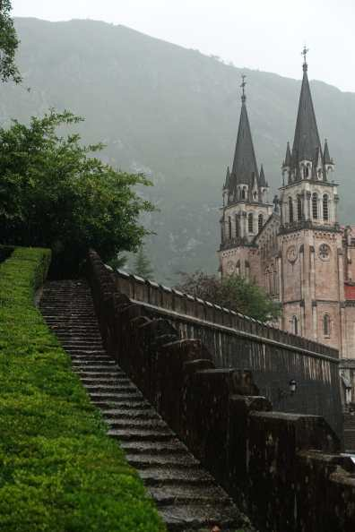 Steps and the steeples of Basilica of Santa María la Real de Covadonga