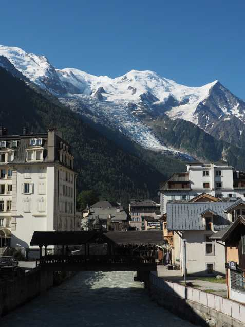 Chamonix. Arve river in the foreground with the Les Bosson glacier in the background