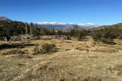 Looking eastward across the estancia to the snow-covered mountain peaks near the Argentina border and Puerto Ingeniero Ibáñez
