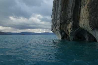 Lake and marble cliffs at Capillas de Mármol