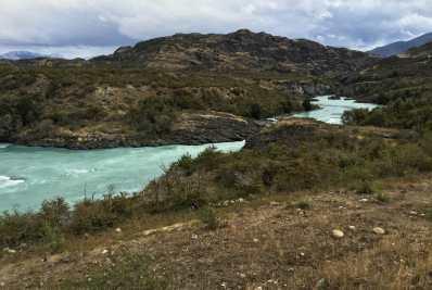 A roadside overlook of Rio Cochrane, near La Peninsula