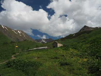 Abandoned buildings above Rifugio Bonatti