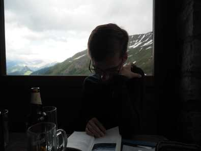 Reading and beer at Rifugio Elisabetta