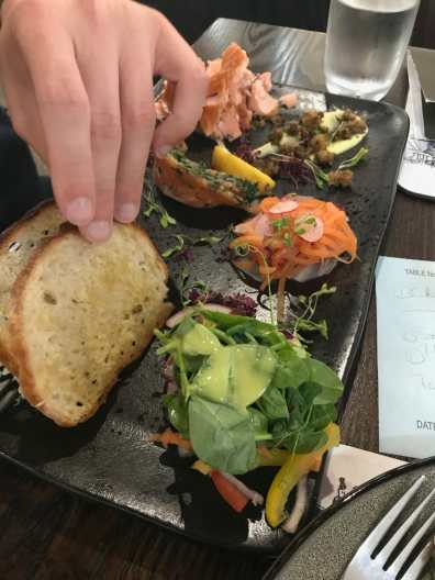 Salmon platter at at Ardbeg's Old Kiln Café