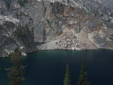 Cliffs along a mountain lake