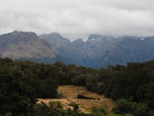 Tarn and distant mountains along the Routeburn Track