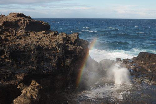 Nā-kālele blowhole and rainbow