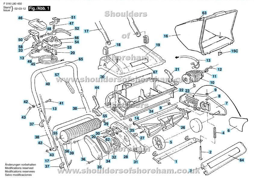 qualcast classic 35s parts diagram brain model concorde e35dl f016 l80 450 spares and spare