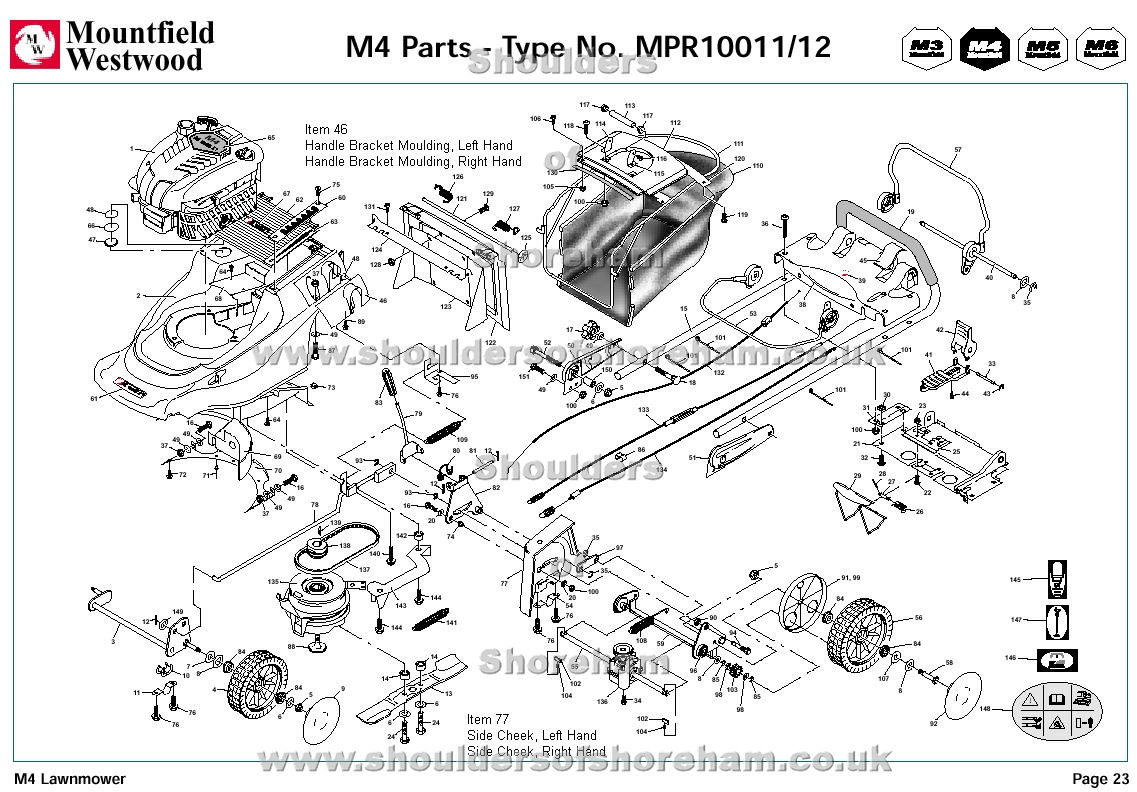 MPR10011 MPR10012 Mountfield M4 Pre 2002 Machine Diagram