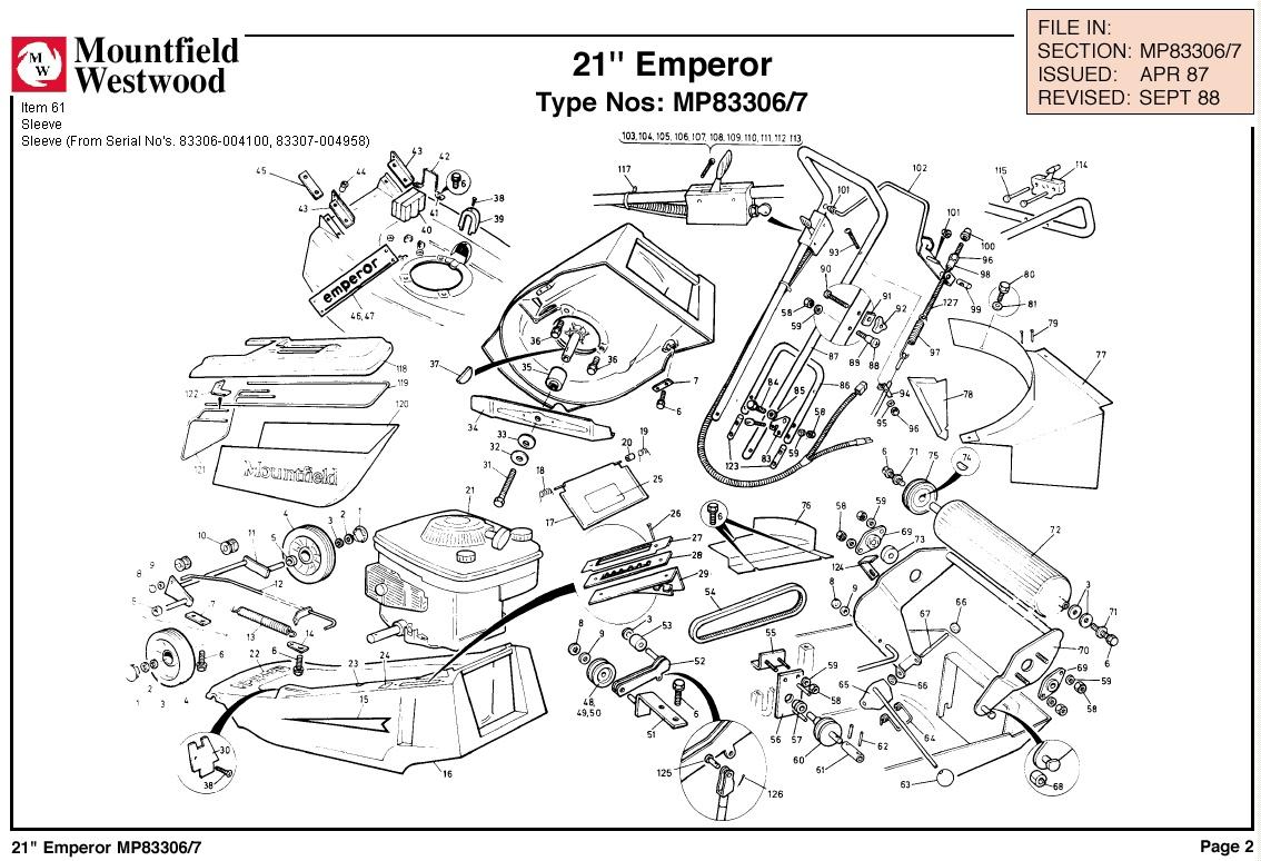 MP83306 MP83307 Mountfield Emperor 21 Machine Diagram for