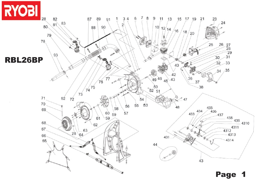 Ryobi RBL26BP Spares and Spare Parts