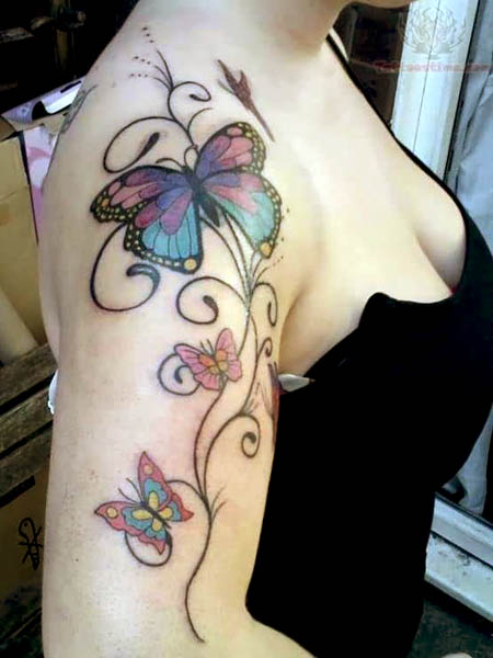 Butterfly Half Flower Tattoo