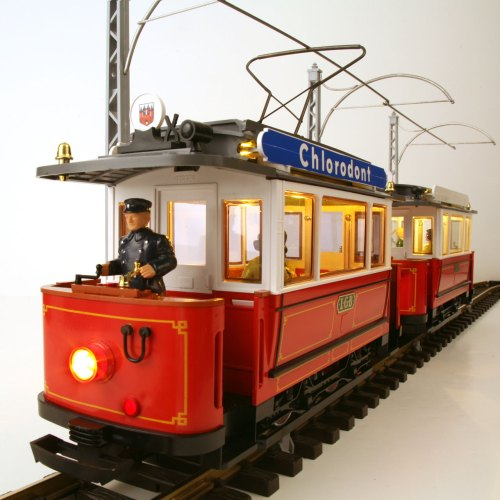 small resolution of lgb 2036 3600 red trolley trailer set left front view