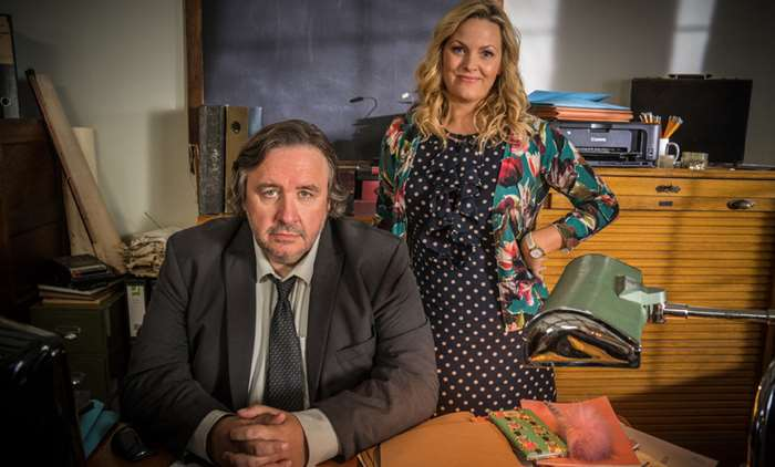 Mark Bento and Jo Joyner as Shakespeare and Hathaway - Private Investigators
