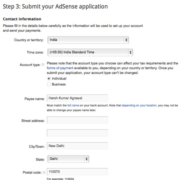 Adsense contact information