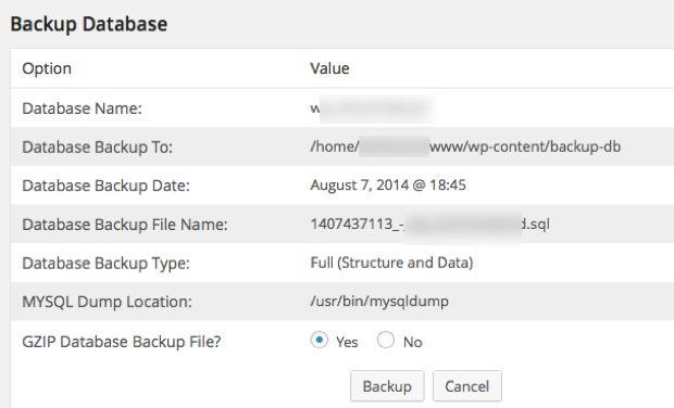 Taking WordPress Database Backup