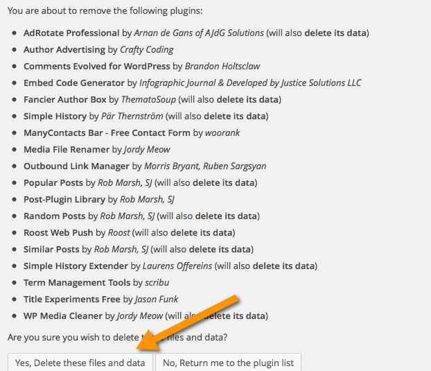 delete unused WordPress plugin
