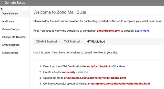 Zohomail domain verification