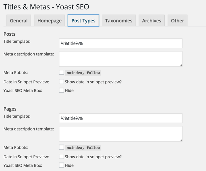 Post type SEO settings