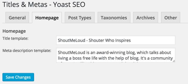 Yoast SEO Homepage Settings