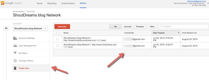 restore deleted Google analytics account