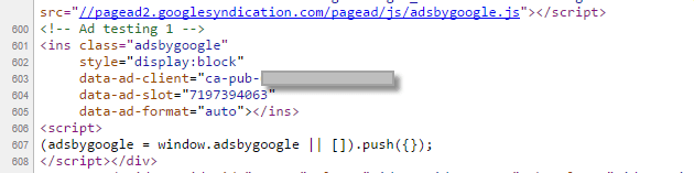 Adsense code at page source