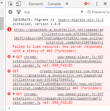 Google Adsense 403 Forbidden error