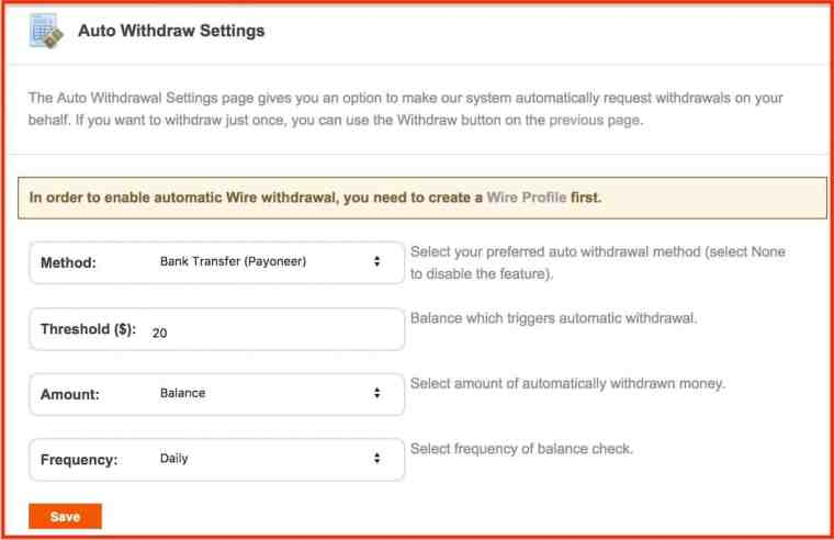 Popads-Auto-withdrawal-settings