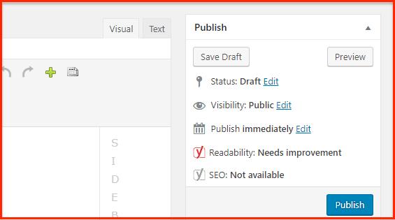 WordPress Publish Button