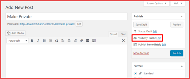 WordPress post visibility
