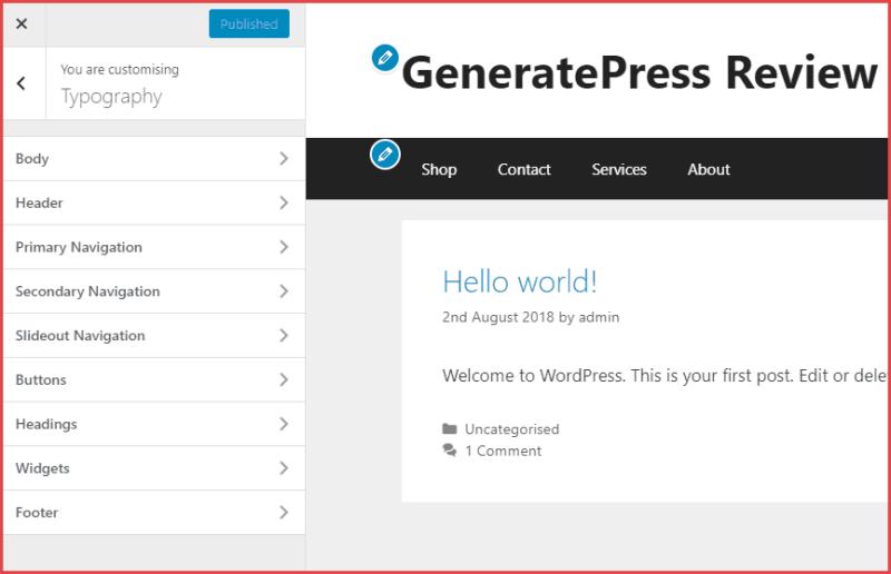GeneratePress Font settings