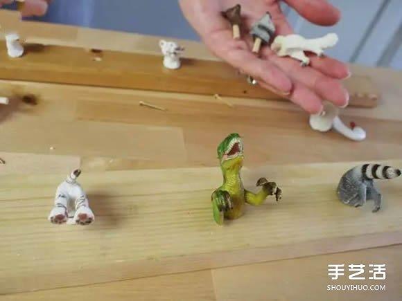wood kitchen playsets small butcher block table 利用孩子们玩腻的动物玩具diy制作有趣的挂钩_手艺活网