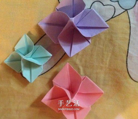 四瓣花折紙圖解教程 手工折疊四瓣花的方法_手藝活網