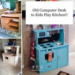 Glass Top Kitchen Table Lowes Outdoor Kitchens 旧电脑桌改造儿童玩具厨房的方法 手艺活网 Www Shouyihuo Com