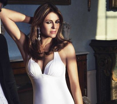 liz hurley in white swimwear-showbizbites