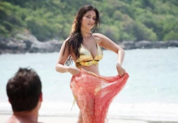 sunny in golden bikini-showbizbites
