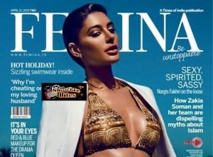 Nargis Fakhri Looks Mouth Watering in Golden Bikini on Femina Cover