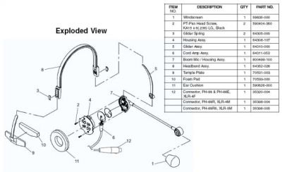 Telex PH44 PH88 Headset Spares Exploded Parts Diagram