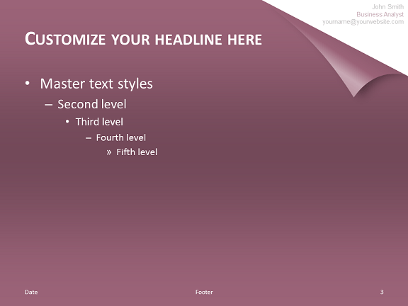 Turn The Page  Template for PowerPoint Purple